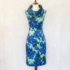 Antonio Melani Cowl Neck Blue Watercolor Dress